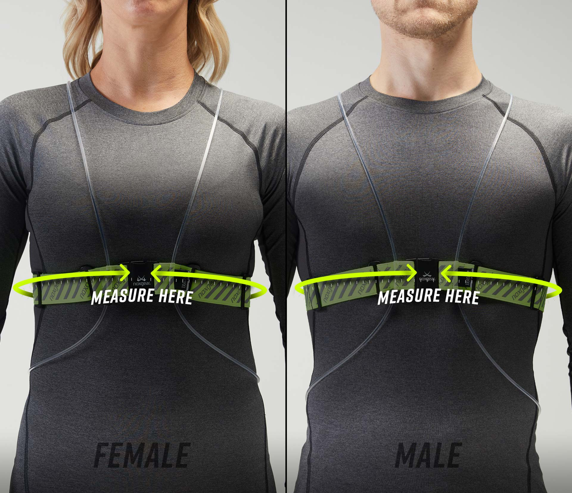 Photo showing the fit of a Tracer2 on the torso of a man and a woman.