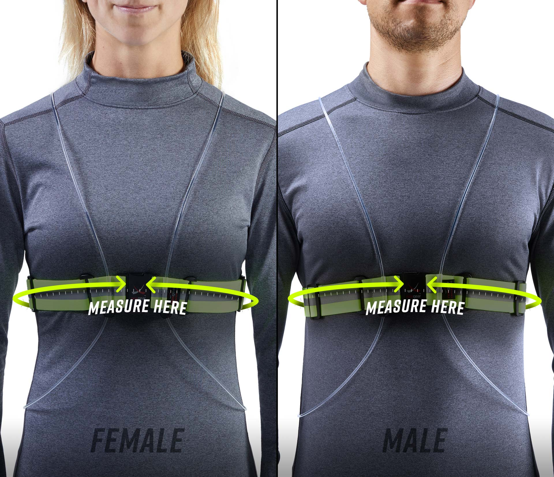 Photo showing the fit of a Tracer360 on the torso of a man and a woman.